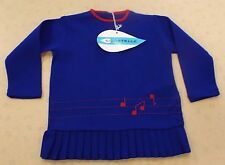 VINTAGE 1970's UNWORN GIRLS COURTELLE PLEATED MUSICAL NOTE DRESS AGE 1-2 YEARS