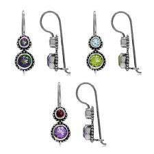 Genuine Gemstone Balinese Style 925 Sterling Silver Hook Earrings