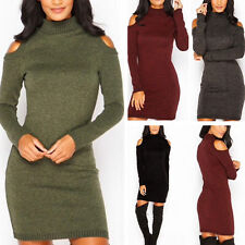 Sexy Womens Winter Long Sleeve Jumper Knitted Sweater Casual Evening Party Dress