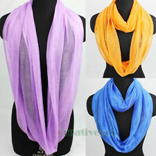 Fashion Women's Solid Color Infinity Loop Cowl Circle Stylish Lady Scarf Shawl