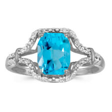 10k White Gold Emerald-cut Blue Topaz And Diamond Ring