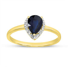 14k Yellow Gold Pear Sapphire And Diamond Ring