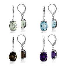Genuine OV 11*9 MM Gemstone 925 Sterling Silver Leverback Modern Look Earrings