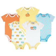 "Luvable Friends Neutral 5 Pack ""Mommy & Me"" Elephant Theme Short Sleeve"