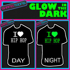 I LOVE HIP HOP  MUSIC DJ FESTIVAL IBIZA GLOW IN THE DARK PRINTED TSHIRT