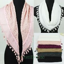 Women's Lace Trim Net 2Layer Triangle Scarf Fashion Shawl Wrap Lace Trim Tassel