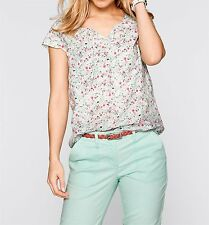 Ladies Short Sleeve Blouse tunic, 155909 in White floral