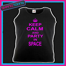 KEEP CALM AND PARTY IN SPACE CLUBBING HEN PARTY IBIZA HOLIDAY UNISEX VEST TOP