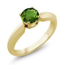 0.50 Ct Round Green Chrome Diopside 18K Yellow Gold Plated Silver Ring