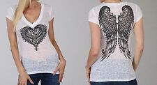 Ladies Ornate Heart BURNOUT Vee Top Motorcycle Biker Womens Wings V-Neck t-shirt