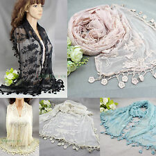 Women Floral Nets Embroidery Lace Crochet Mantilla Lace Trim Long Scarf Shawl