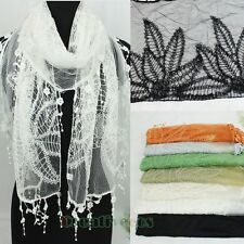 Elegant Women's Composite Flowers Long Scarf Shawl Lace Floral Trim Tassel