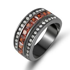 Dazzling Size 7,8,9,10 Red Garnet Black Gold Filled  Wedding Mans Womans Rings