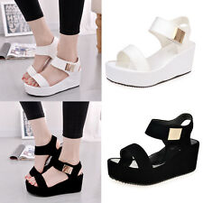 2017 Fashion Women Wedges Heel Summer Platform Sythetic Sandals Open Toe Chunky
