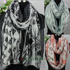 Womens Vintage Paisley&Floral&Geometric Print Long/Infinity Scarf Ladies Scarves