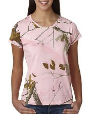 REALTREE AP PINK CAMO CAMOUFLAGE LADIES CUT QUALITY T-SHIRT - LICENSED WOMENS