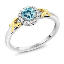 10K Two-Tone Gold Ring with Accent Diamonds Natural Blue Topaz Cut by Swarovski