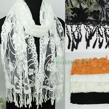 Women Embroidery Floral Lace Trim Tassel Mantilla Oblong Scarf Princesse Shawl