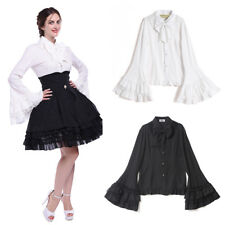Women Gothic Lolita Chiffon Palace Flare Long Sleeve Blouse Shirt Top S-3XL