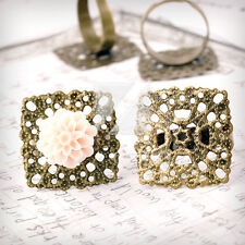 5/10pcs Square/Flower/Flat Round Antique Brass Ring Mountings Engagement Setting