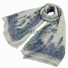 Vintage Women's Chinese Style Floral Print Voile Long Scarf Stole Shawl Wrap New