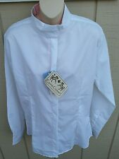 NWT EQUINE COUTURE LS Coolmax White w/Pink Snap Collar Horse Show Shirt LG or XL