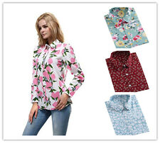 New Womens Casual Gorgeous Bright Colored Printing Long Sleeve Blouse Tops-5XL