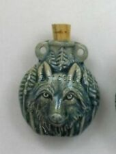 Raku Ceramic Pottery Bottle-Necklace, Wolf Design, Choice of Lot Size & Price
