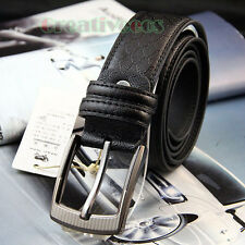Stylish Mens Pin Button Premium Textured Metal Buckle Casual Waist Strap Belt
