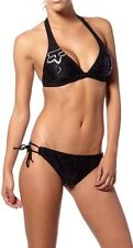 Fox Racing Platinum 2Pc Fix Halter Top & Side Tie Bottom Bikini Black Swim Surf