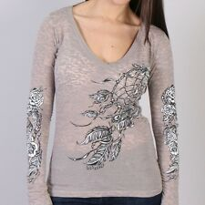 Ladies Long Sleeve DREAM CATCHER Motorcycle Top Womens Biker Burnout Vee t-shirt