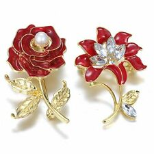 Women Gold Plated Crystal Rhinestone Pearl Red Rose Flower Brooch Pin Jewelry
