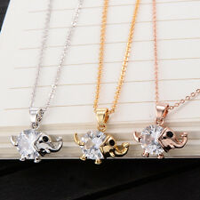 Hot Korean Charm Crystal Cute Elephant Pendant Long Necklace Yellow Gold Filled