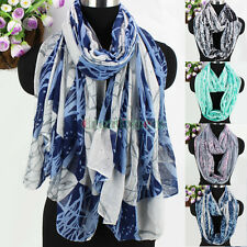 Women Fashion Scarves Tree Branches Print Plaid Casual Long Shawl/Infinity Scarf