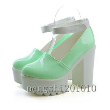 Candy Color Women's Sweet Round Toe Ankle Strap Chunky High Heels Shoes Pumps Sz