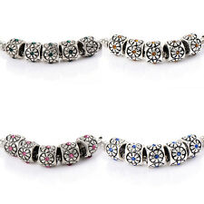 10pcs crystal Charm Flower Beads Fit DIY Bracelet  silver plated Making Jewelry