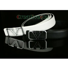 Fashion Men Dress Business Pin Smooth Buckle Genuine Leather Waist Strap Belt