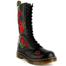 Womens Dr Martens Vonda Black Leather Combat Roses Lace Up Mid Calf Boots UK 3-8