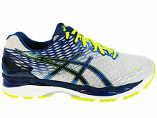 NEW MENS ASICS GEL-NIMBUS 18 RUNNING SHOES TRAINERS SILVER / INK / FLASH YELLOW