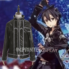 Kirito Faux Leather Jacket Sword Art Online Cosplay Costume FREE P&P