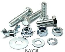 M6 HEXAGON SET SCREWS CHOOSE BOLTS NUTS OR WASHERS HIGH TENSILE 8.8 ZINC PLATE