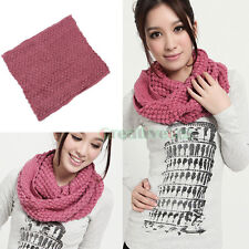 Women's Knit Acrylic Pure Color Infinity Scarf Circle Loop Cowl Eternity Wrap