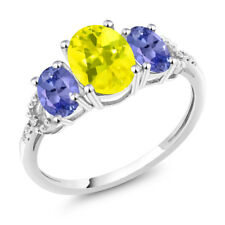 10K White Gold 2.25 Ct Oval Canary Mystic Topaz Blue Tanzanite 3-Stone Ring
