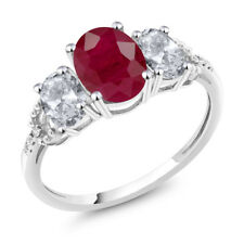 Diamond Accent 10k White Gold 2.65 Ct Oval Red Ruby White Topaz Engagement Ring