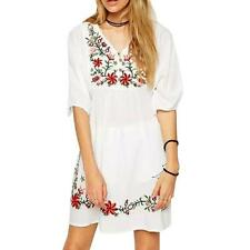 US Women Mexican Ethnic Embroidered Pessant Hippie Blouse Floral Boho Mini Dress