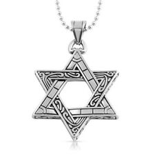 Intricate Star of David Silver Stainless Steel Pendant Mens Chain