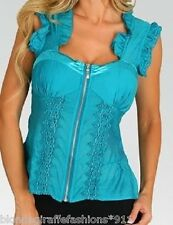 Turquoise Embro Zip Front Bra Lined/Smocked Back Top
