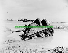 Army M4 Sherman Tank  Black n White Photo Military WW2 1944 Normandy Cannon Ball