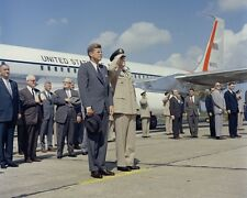 President John F. Kennedy exits Air Force One in Huntsville Alabama Photo Print