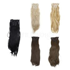Women's 6Pcs Hairpiece Full Head Synthetic Long Straight Clip in Hair Extensions